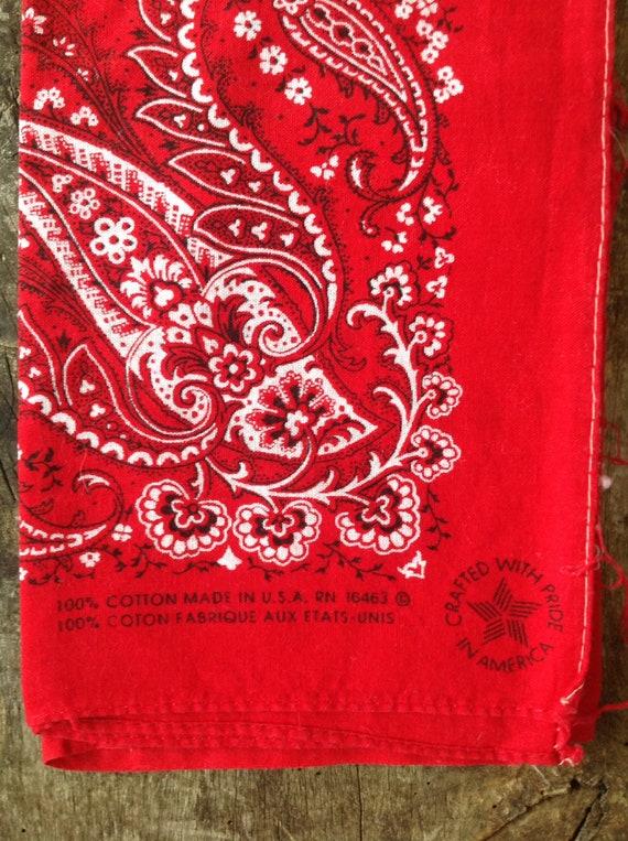 "Vintage turkey red cotton bandana western rockabilly pocket square color fast paisley RN16463 21"" x 20"""