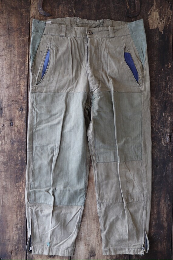 """Vintage 1950s 50s french army hbt trousers pants repaired darned 36"""" x 27"""" work chore workwear button fly"""