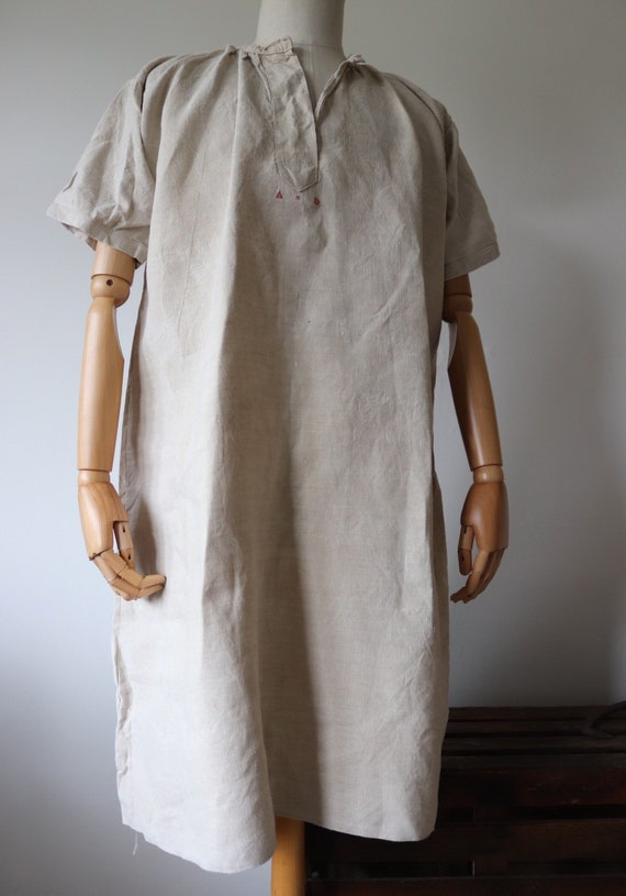 Vintage antique 1900s french off white linen night