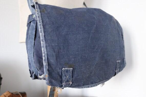 "Vintage 1950s 50s indigo blue french Marine Nationale navy naval linen shoulder bag knapsack faded workwear work military 13"" x 9"""