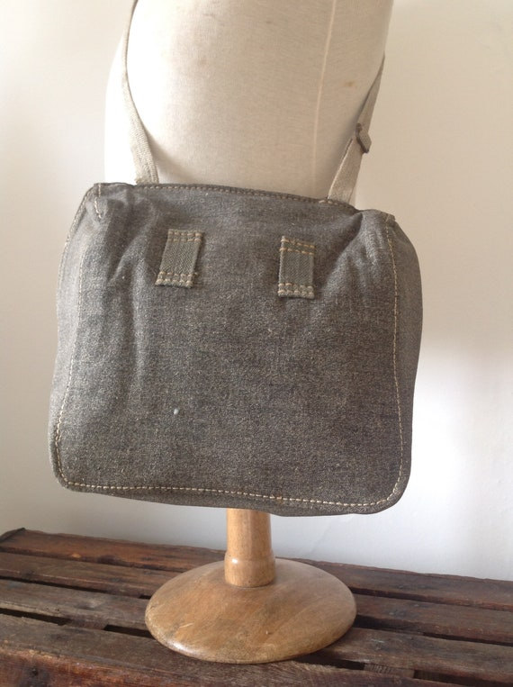 Vintage 1930s 30s Swiss army salt and pepper bread shoulder bag canvas leather military stamped
