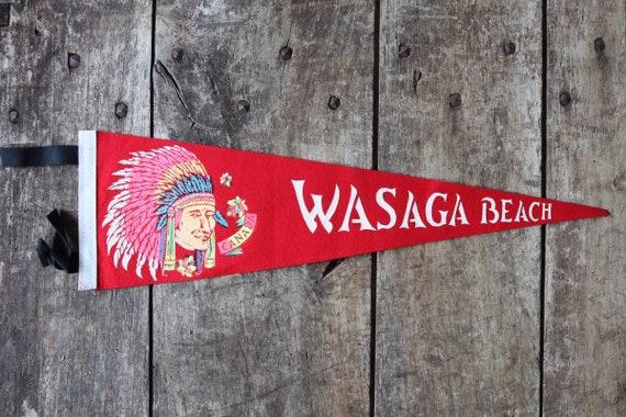 Vintage 1960s 60s red felt pennant flag tourist souvenir Canada Canadian Indian Chief head Wasaga Beach wall decor shop retail display