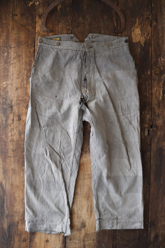 """Vintage 1940s 40s french grey black cotton striped trousers pants 36"""" x 26"""" workwear work chore repair project buckle back v notch"""