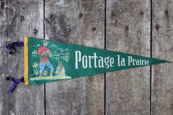 Vintage 1960s 60s green felt pennant flag tourist souvenir Canada Canadian Portage la Prairie Mountie wall decor shop retail display