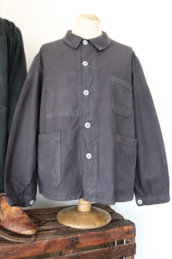 """Vintage 1960s 60s deadstock french painters jacket dyed indigo blue cotton twill 51"""" chest workwear work chore (3)"""