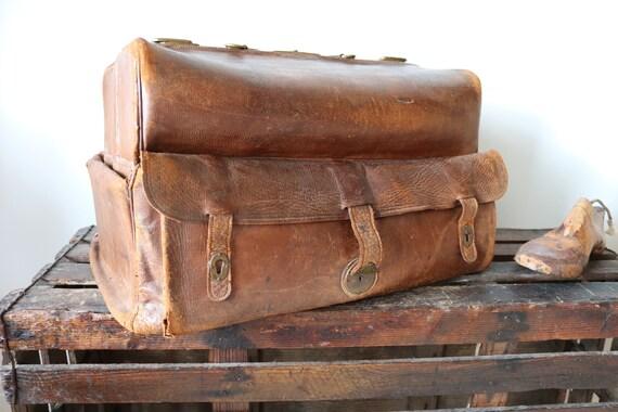 Vintage antique 1900s large brown leather travel luggage bag case monogrammed