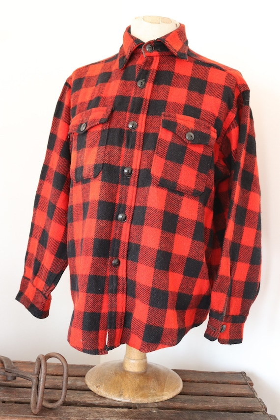 "Vintage 1980s 80s Duxbak red black checked plaid wool cpo shirt 47"" chest hunting"