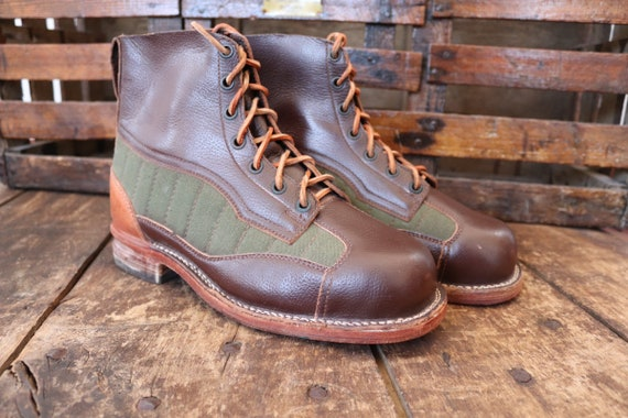 Vintage deadstock 1960s 60s brown leather green fabric lace up Swedish army boots EUR 42 43 44 45 rugged military walking hiking workwear