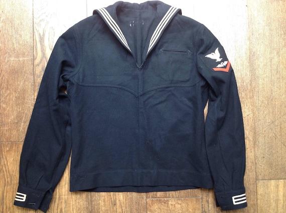 """Vintage 1940s 40s 1950s 50s black USN US navy crackerjack top jumper sailor rockabilly 42"""" chest"""