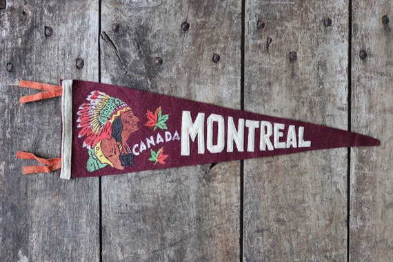 Vintage 1960s 60s burgundy red felt pennant flag tourist souvenir Canada Canadian Indian Chief head Montreal wall decor shop retail display