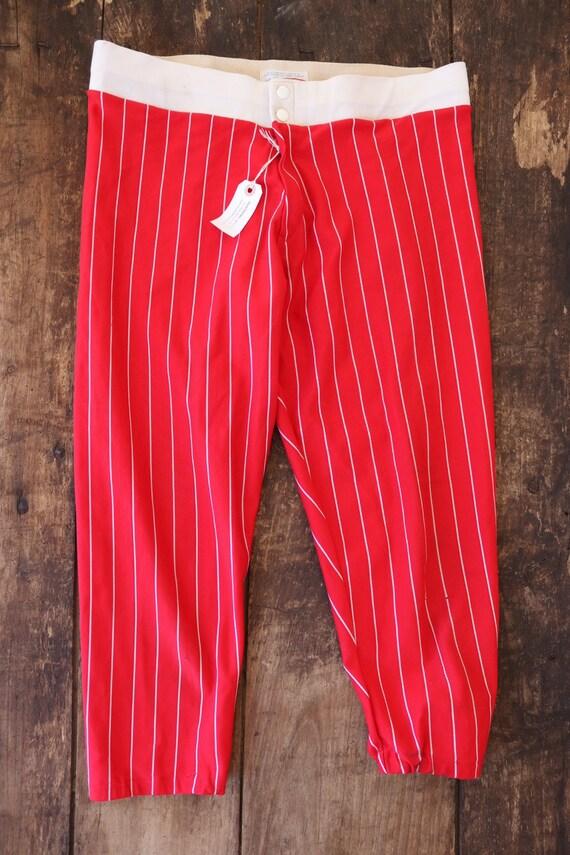"""Vintsge 1960s 60s 1970s 70s nylon red white striped base ball pants trousers sportswear Talon zipper 33"""" x 23"""""""