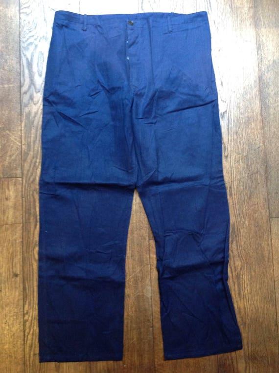 "Vintage French indigo blue cotton herringbone twill HBT chore trousers pants workwear 38"" x 31"" (12)"