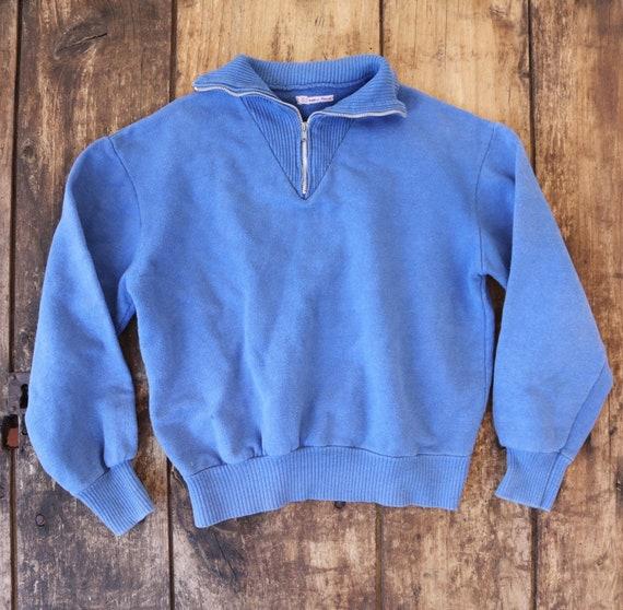 "Vintage 1970s 70s french blue quarter zip up collar sweatshirt sports top 38"" chest"