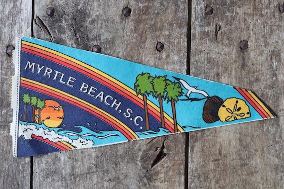 Vintage 1980s 80s blue purple felt pennant flag tourist souvenir American Americana Myrtle Beach SC surf shop retail display wall decor