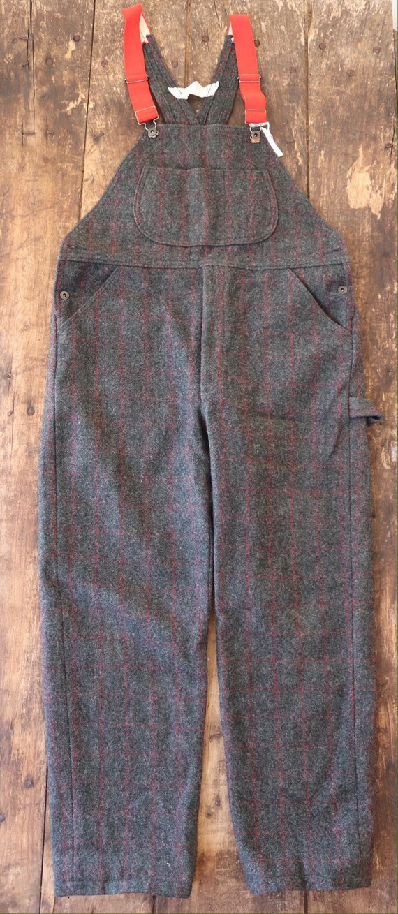 """Vintage Woolrich grey red green checked plaid wool hunting overalls dungarees trousers pants suspenders 40"""" x 31"""""""