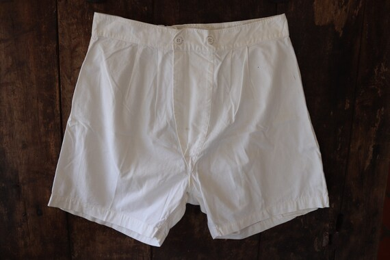 """Vintage 1940s 40s 1950s 50s french army military white cotton boxer shorts underwear pants 30"""" 31"""" waist (1)"""