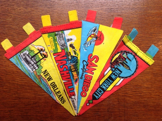 Vintage 1970s 70s mini souvenir tourist pennants New York San Diego New Orleans Nashville