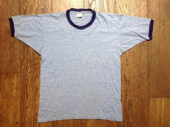 """Vintage 1970s 70s 1980s 80s sky navy blue marl ringer t shirt tshirt mens womens unisex 38"""" chest"""
