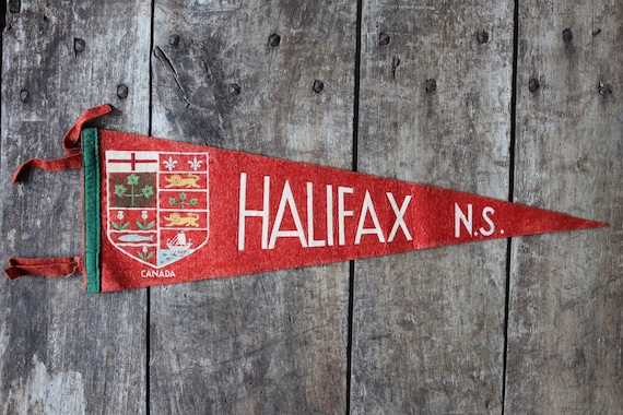 Vintage 1960s 60s red felt pennant flag tourist souvenir Canada Canadian Halifax Nova Scotia wall decor shop retail display