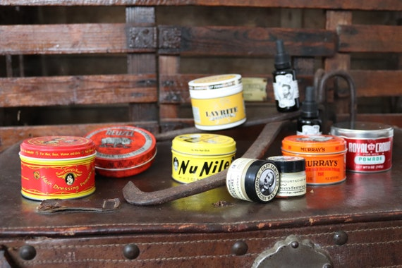 New hair care grease pomade moustache wax beard oil tin rockabilly Murray's Royal Crown Sweet Georgia Brown Reuzel Nu Nile