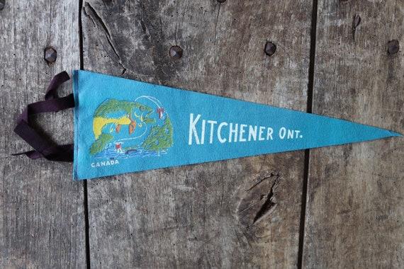 Vintage 1960s 60s blue felt pennant flag tourist souvenir Canada Canadian Kitchener Ontario fishing retail shop wall decor