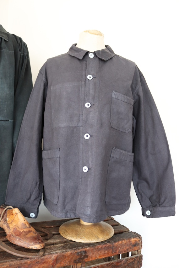 """Vintage 1960s 60s deadstock french painters jacket dyed indigo blue cotton twill 50"""" chest workwear work chore (4)"""