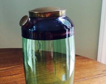 Vintage Art Deco Green Glass Martini Shaker