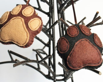 Paw Print Ornaments, Dog Christmas Ornaments, Brown Black Ornament, Pet Christmas Gift, Felt Paw Print Ornament