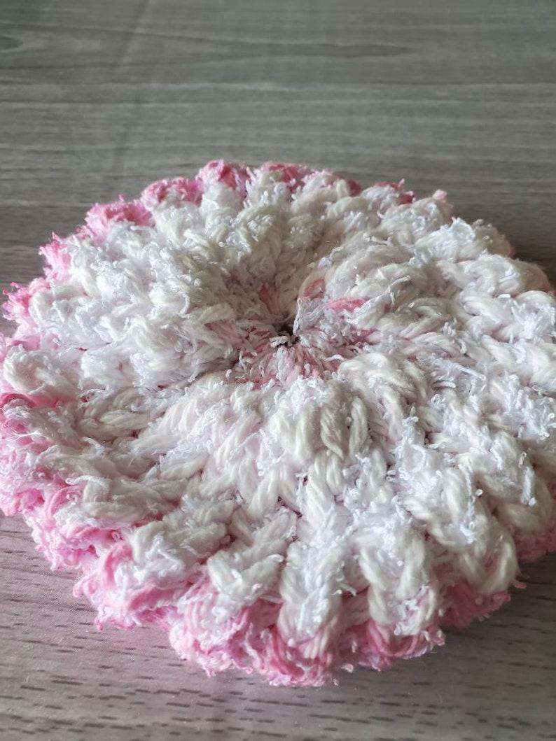 Round Washcloth Kitchen Scrubby Pink White Scrubby Knit Dishcloth Pink White Dish Scrubber Pinky Stripes Scrubbie