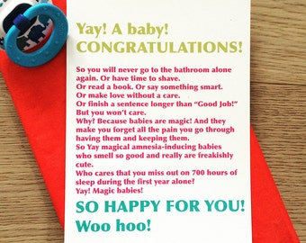 Don't read this. Funny new baby card - Funny new mom card - new mom advice - Congrats baby card - new parent gift