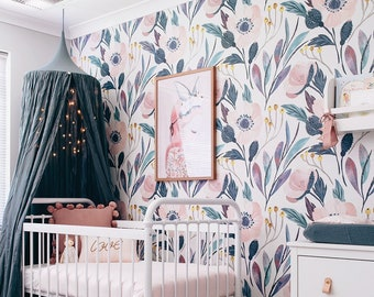 Captivating Removable Wallpaper, Nursery Wall Decor, Nursery Wallpaper, Wallpaper, Peel  And Stick Wallpaper, Baby Girl Nursery Pink Nursery Wall Sticker