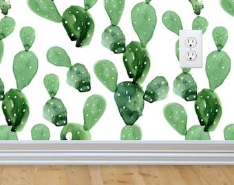 Self-adhesive Removable Wallpaper, Cactus Wallpaper, Peel and Stick Fabric Wallpaper, Custom Design Wall paper