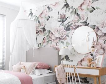 Nursery Babyu0027s Room Decor Floral Wallpaper (removable)