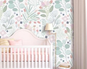 Dreaming in Pastels Wallpaper  - Floral Wallpaper - Mint Decor - Nursery - Office Decor -