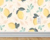 Lemon and Mint Wallpaper | Peel and Stick Wallpaper | Fruit Decor | Removable Wallpaper | Lemon Decor | Yellow | Green | Decor