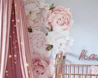 44606f04be0 Pink Peony Wall Decal - Floral Wall Decals - Removable Peel and Stick  Wallpaper Decals - Peonies - Flower Wall Stickers - Flower Decals