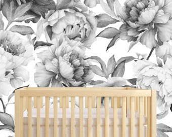Peony Wallpaper Removable Floral Nursery Wall Decor Flower Baby Girl