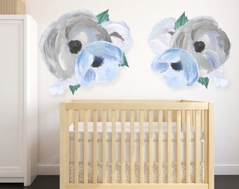 Rocky mountain decals cute baby nursery by rockymountaindecals blue grey blooms wall decals flower wall decals hand painted decals floral decal nursery wall decor baby wall decal decals gumiabroncs Image collections