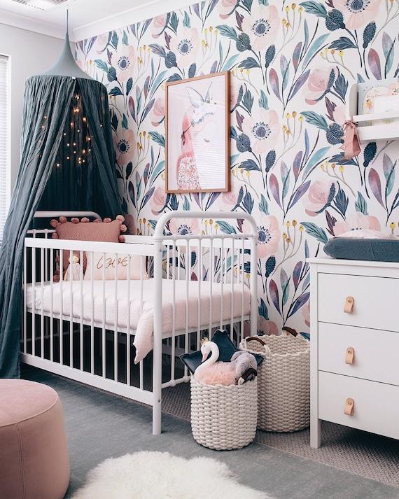 Moody Flower Wallpaper Temporary Wallpaper Removable Wallpaper Wallpaper Peel And Stick Wall Paper Floral Wallpaper Nursery Wallpaper
