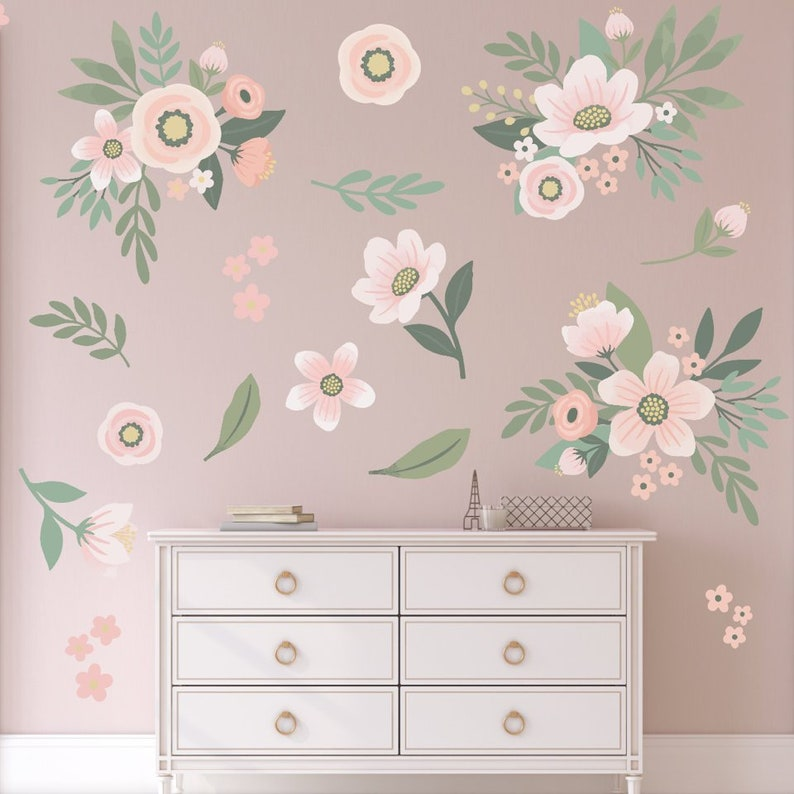Forever Floral Wall Decals NEW- Baby Girls Decor - Baby Girls Room -  Pastels - Nursery Wall Decals - Baby Cute - Baby Fashion - Decor - Pink