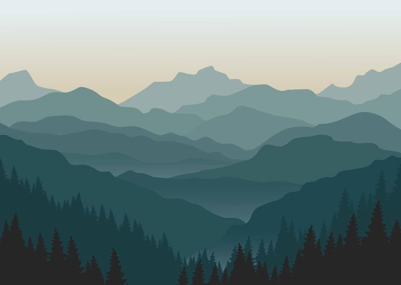 misty mountain wallpaper foggy mountain silhouette murale | etsy