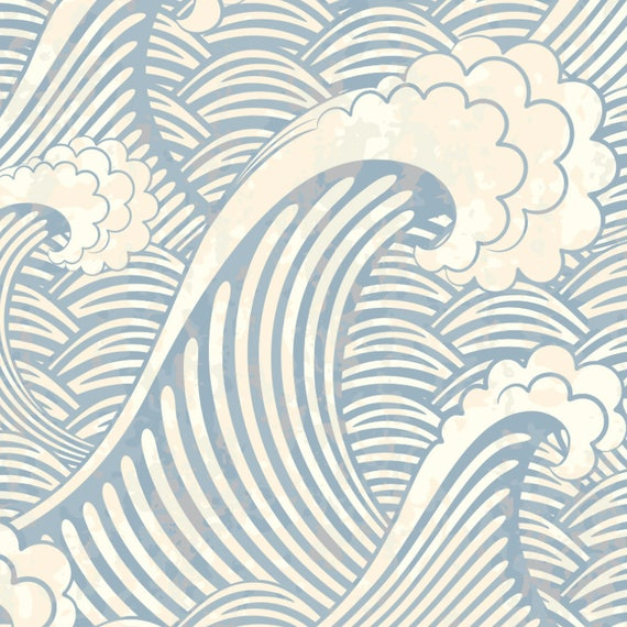 Japanese Wave The Great Wave Wallpaper Chinese Wave Wallpaper Classic Wallpaper Vintage Wallpaper Removable Wallpaper Beach Decor