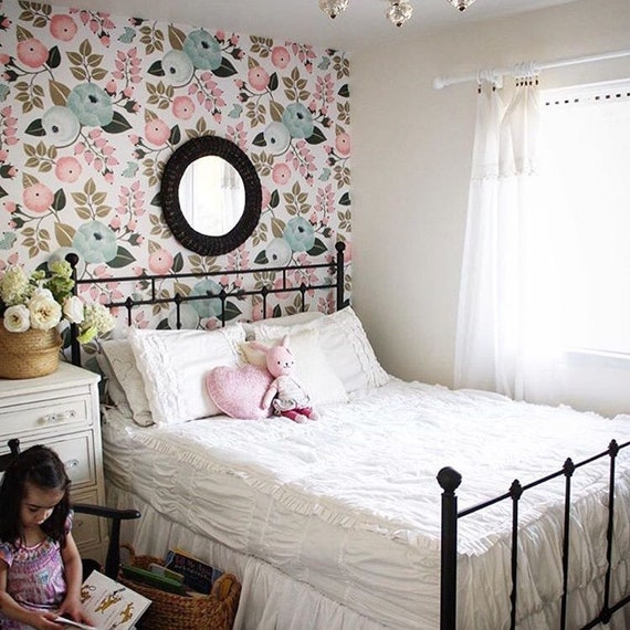 Baby Girl Wallpaper, Removable Wallpaper, Baby Girl Nursery Decor,  Wallpaper, Floral Wallpaper, Peel and Stick Wallpaper, Pink Nursery, Pink