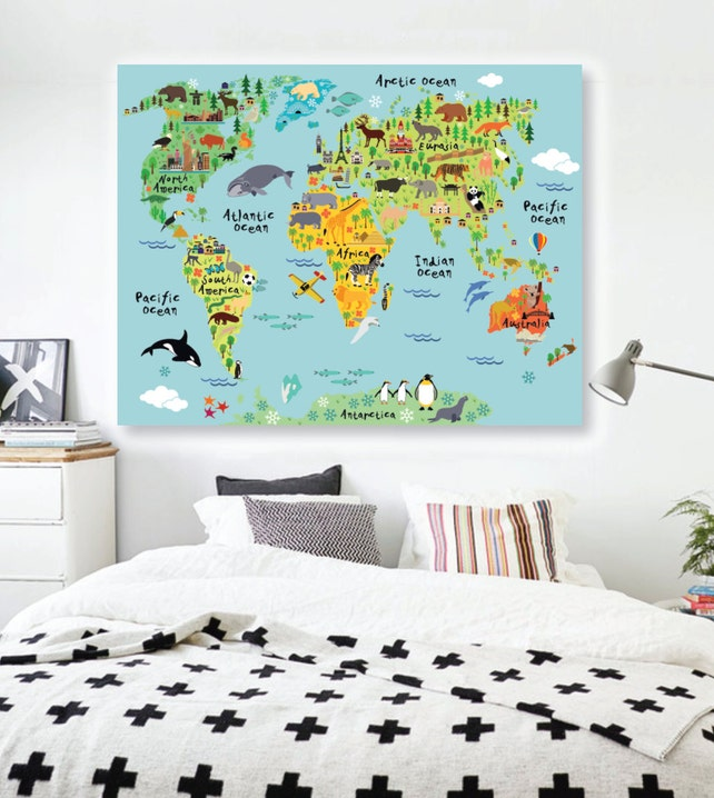 Animals world map wall decal peel and stick poster animals etsy image 0 gumiabroncs Images