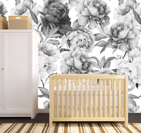 Bold Blooms Wallpaper Removable Wallpaper Floral Wallpaper Nursery Wall Decor Flower Wallpaper Wallpaper Baby Girl Nursery Girl Wall
