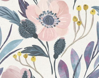 Moody, Vintage Style Wallpaper, Flower Wallpaper, Removable , Cute wallpaper, peel and stick wall paper, Floral wallpaper, Nursery Decor