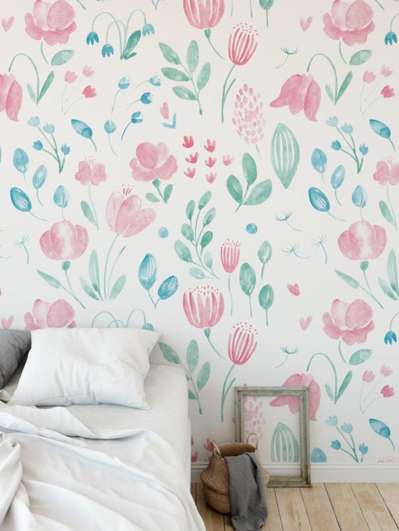 Floral Wallpaper Girl Nursery Decor Nursery Wallpaper Etsy