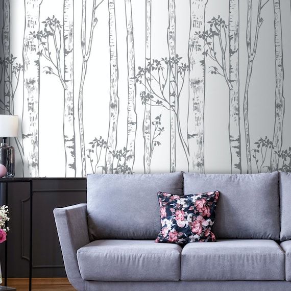 Shop Wild Woods Wallpaper  Birch Tree  White  Nature  Office from Etsy on Openhaus