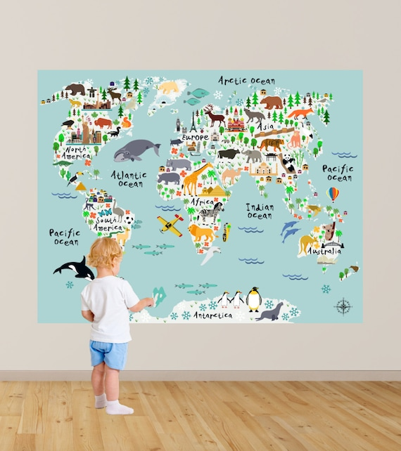 map wall decal kids map wall decal animal map wall decal | etsy