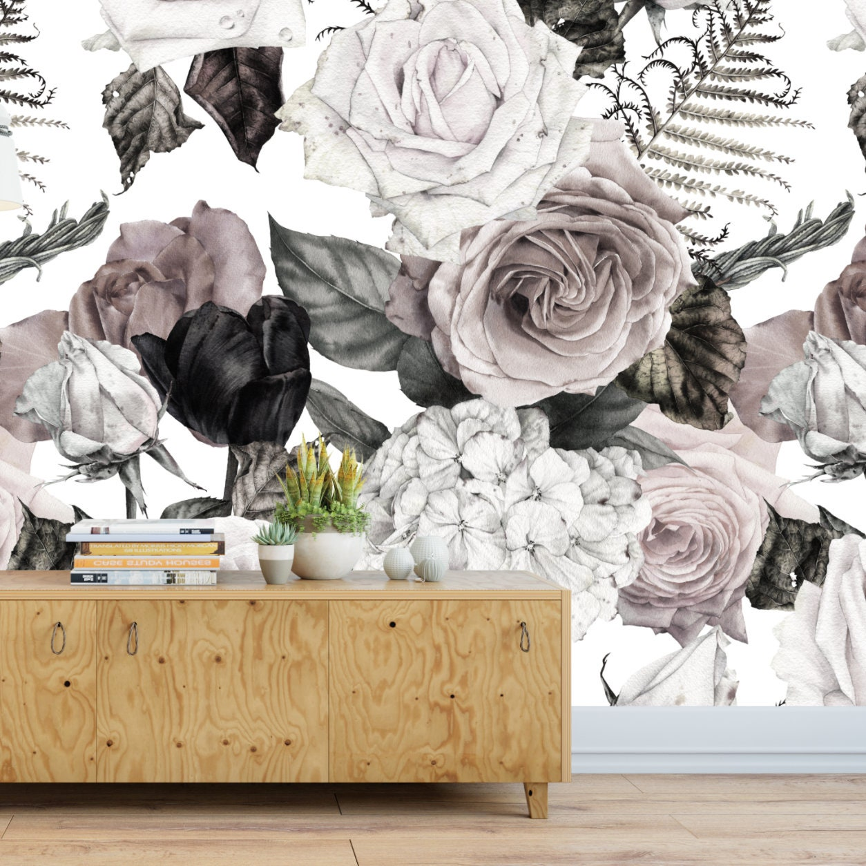 Timeless Wall Mural Floral Wallpaper Removable Wallpaper Etsy